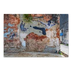 ImageLand Glasbild Digitaldruck Street Art mit Kampfkünstler, 80 x 120 cm