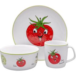 Eschenbach Kindergeschirr-Set Gesunde Freunde Tomate (3-tlg), Porzellan