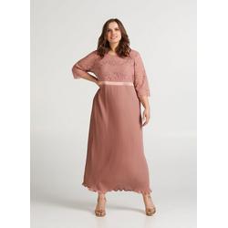 Zizzi Abendkleid Große Größen Damen Kleid mit Spitze und Plissée L (50/52)
