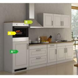 Held Möbel Küchenzeile Chicago 290 cm Hochglanz Weiß