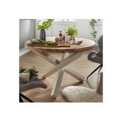 FINEBUY Esstisch SuVa6335_1, Design Esszimmertisch rund Ø 120 cm x 75 cm Massiv-Holz Landhaus Esstisch 4 Personen Küchentisch Tisch für Esszimmer braun (FSC® Mix) braun