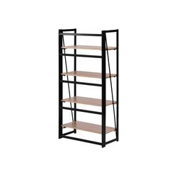 Fangqi Bücherregal 4-stufiges rustikales Bücherregal, Multi-Funktionen Regal aus Holz und Metall, stehendes Regal für Dekorationen oder Aufbewahrung natur