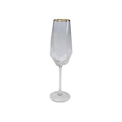 KARE Gläser-Set Sektglas Diamond Gold Rim, Glas