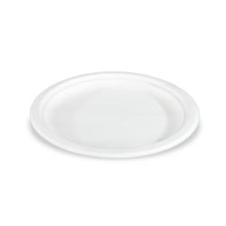 Sobsy Teller - 23 cm Durchmesser, Teller aus Zuckerrohr, 1 Karton = 10 x 50 Stück, weiß