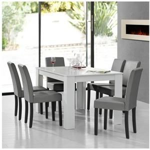 en.casa Essgruppe, (7-tlg., Esstisch mit 6 Stühlen), Forssa 140x90cm Küchentisch mit 6x Polsterstühlen grau