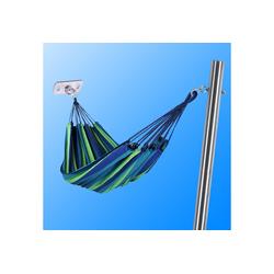Toldoro Hängematte Hängematte blau-grün inkl. stabilem Edelstahl-Pfosten und Edelstahl-Wandhalterung
