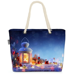 VOID Strandtasche (1-tlg), Winter Laterne Beach Bag Winter Weihnachten Heilig Abend Nikolaus Laterne Licht