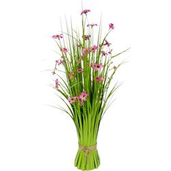 Kunstgras Gras, I.GE.A., Höhe 65 cm, Grasbund mit Blüten