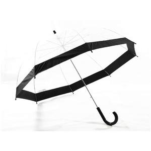 Schöner Regenschirm, transparent, durchsichtig mit Rand in schwarz, Automatik
