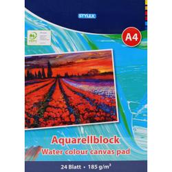 STYLEX® Aquarellblock, A4, Malblock zum Zeichnen und Malen , 1 Stück, 24 Blatt