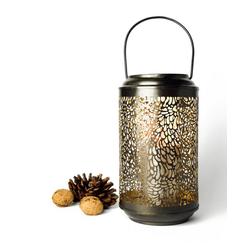 Sendez Laterne Sendez Laterne aus Metall 37x15cm Handgefertigt Windlicht Gartenlaterne Kerzenhalter