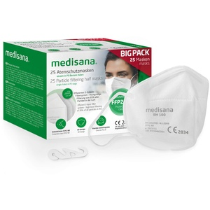medisana FFP2 Atemschutzmaske Staubmaske Atemmaske, RM 100, Staubschutzmaske Mundschutzmaske 25 Stück einzelverpackt im PE-Beutel mit Clip - zertifiziert CE2834 - EU 2016/425 - TÜV geprüft