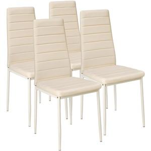 4 Esszimmerstühle, Kunstleder beige