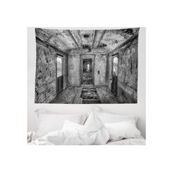 Wandteppich aus Weiches Mikrofaser Stoff Für das Wohn und Schlafzimmer, Abakuhaus, rechteckig, Schwarz Antike Eisenbahnwaggon 150 cm x 110 cm