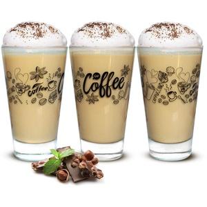 Sendez 6 Latte Macchiato Gläser 310ml Kaffeegläser Teegläser mit schwarzem Kaffee-Aufdruck