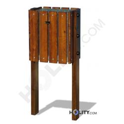 Abfallbehälter mit Holzverkleidung h140120