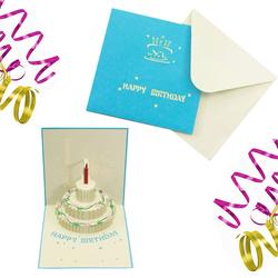 3D Geburtstagskarte Grußkarte Happy Birthday Pop Up Karte - blau