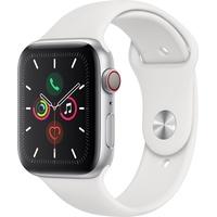 Apple Watch Series 5 GPS + Cellular 44 mm Aluminiumgehäuse silber, Sportarmband weiß