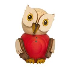 Kuhnert Sammelfigur 37309, Mini Eule Rot, Holzfigur, Made in Germany