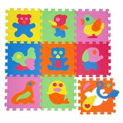 LittleTom Puzzlematte Baby Puzzlematte ab 0 Kinder Spielmatte Tiere, 9 Puzzleteile, EVA Krabbelmatte Tiere Bunt