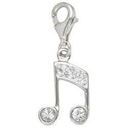 JOBO Charm-Einhänger Noten, 925 Silber mit Kristallsteinen