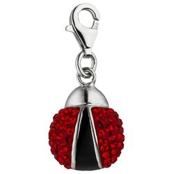 JOBO Charm-Einhänger Marienkäfer, 925 Silber mit roten Kristallen