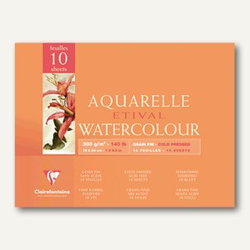 Etival Aquarellblock, 30 x 40 cm, fein, 300g/m², 10 Blatt, 4 Stück, 96572C