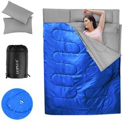 COSTWAY Doppelschlafsack Doppelschlafsack blau
