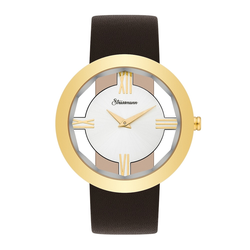 Strassmann Armband-Uhr STRASS 800 gelbgold Echtleder braun Strassmann Quarzuhr Armband-Uhr STRASS 800 gelbgold Echtleder braun Strassmann Quarzuhr