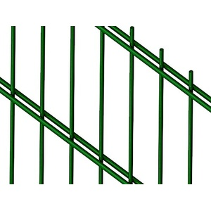 Doppelstabmattenzaun | Gartenzaun | Komplettset | 203cm hoch | verzinkt und pulverbeschichtet (40m, Grün (RAL 6005))