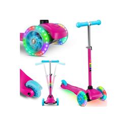 KIDIZ Cityrad, Kinder Scooter Pro1 Dreiradscooter mit PU LED Leuchtenden Räder Kinderroller Tret-Roller höhenverstellbarer Cityroller Kinderscooter für Kinder Jungen Mädchen ab 3-12 Jahre rosa