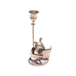 Brillibrum Kerzenständer Kerzenständer Silber Kerzenständer Vintage Leseratte Tierfigur Maus Tischdekoration versilbert für Stabkerzen