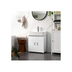 VASAGLE Waschbeckenunterschrank BBK02WT Waschbeckenunterschrank, Badezimmerschrank, Unterschrank, weiß