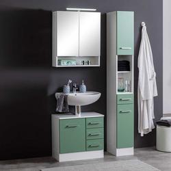 Badezimmermöbel Set in Grün und Weiß modern (3-teilig)