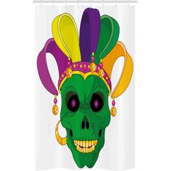 Abakuhaus Duschvorhang Badezimmer Deko Set aus Stoff mit Haken Breite 120 cm, Höhe 180 cm, Karneval Scary Schädel-Maske Hut
