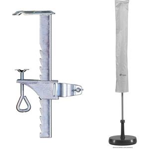 Schneider Balkonklammer für Sonnenschirme & Schutzhülle für Sonnenschirm, silbergrau, bis ca. 200 cm Ø