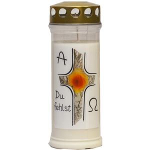 St. Jakob ́s Motivkerzen - Grabkerzen in weiß mit Golddeckel - 24 STÜCK Grablichter mit Deckel - 7 Tage Wochenbrenner Grabkerzen - Friedhofskerze (Kreuz)