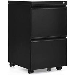 COSTWAY Rollcontainer Rollcontainer Bürocontainer, abschließbar, mobil, mit 2 Schubladen schwarz 39 cm x 68 cm x 48 cm