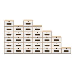 BigDean Schuhbox 30er Set braun weiß mit Sichtfenster & Schublade aus Pappe Schuhkasten Schuhkarton Aufbewahrung stapelbar