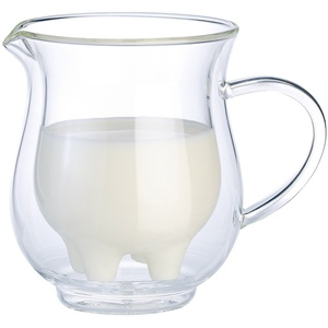 Cucina di Modena Milchkännchen Glas: Doppelwandiges Milchkännchen im witzigen Euterdesign (Doppelwandige Glas Milchkännchen)