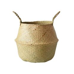 LBLA Dekokorb Seegras Korb Blumentopf Gewebt Wäschekorb mit Griff, Faltbarer Bauchkorb Spielzeug Lagerung