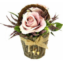 Kunstpflanze Gesteck Rosen in Rindentopf Rosen, Höhe 25 cm