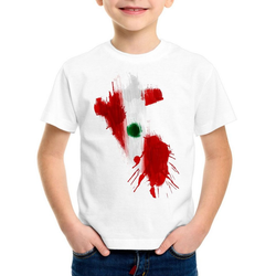 style3 Print-Shirt Kinder T-Shirt Flagge Peru Fußball Sport WM EM Fahne weiß 152