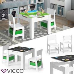 VICCO Kindersitzgruppe STELLA Sitzgruppe für Kinder 2 Stühle Tisch Maltisch Holz-Grün