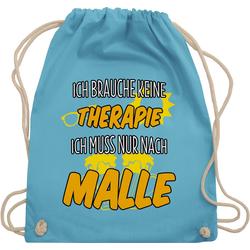 Shirtracer Turnbeutel Ich brauche keine Therapie ich muss nur nach Malle - Urlaub - Turnbeutel blau