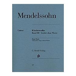 Lieder ohne Worte op.109  Klavier. Felix - Klavierwerke  Band III - Lieder ohne Worte Mendelssohn Bartholdy  - Buch