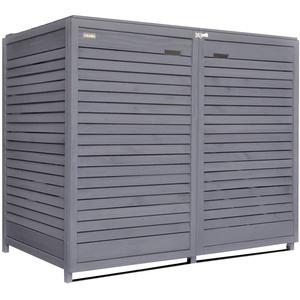 Fairpreis-design Mülltonnenbox Mülltonnenverkleidung 2 Tonnen Holz 120 L - 240 L anthrazit inkl. Rückwand vorimprägniert vormontiert Müllcontainer Mülltonnenschrank Mülltonne Mod.Adr.