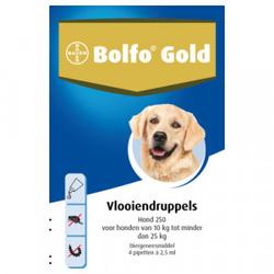 Bolfo Gold 250 hond vlooiendruppels  2 x 4 pipetten