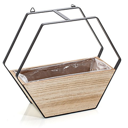Holz-Übertopf zum Hängen, 26,5 x 10,5 x 23 cm