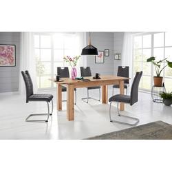 Essgruppe, (Set, 5-tlg), Tisch ausziehbar 140-180 cm grau
